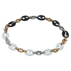 Nautical Anchor Link Necklace 18k Yellow Gold, White & Black Porcelain &Diamonds