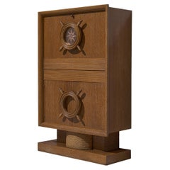 Nautical Bar Cabinet in Oak in Style of Charles Dudouyt