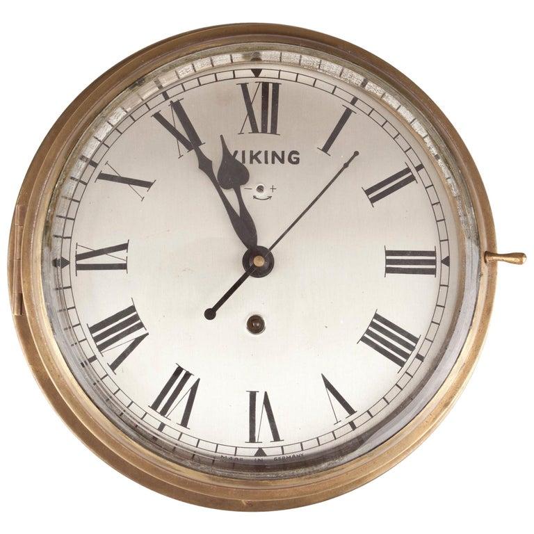 Nautical Brass Ship's Clock, circa 1960s For Sale