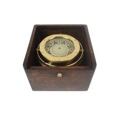 Nautical Compass in Its Original Oak Box Signed Iver C. Weilbach & C. Copenhagen