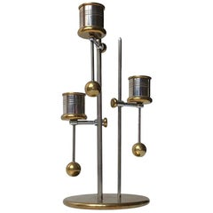 Nautical Danish Counterweight Candlestick in Brass and Steel