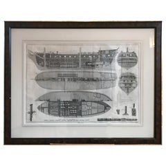 Nautical Engraving of the Shipbuilding Process by Charles-Joseph Panckouke