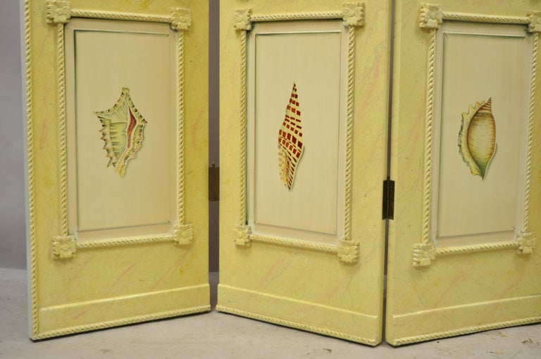 Nautical Four Panel Yellow Folding Screen Room Divider with Painted Conch Shells For Sale 4
