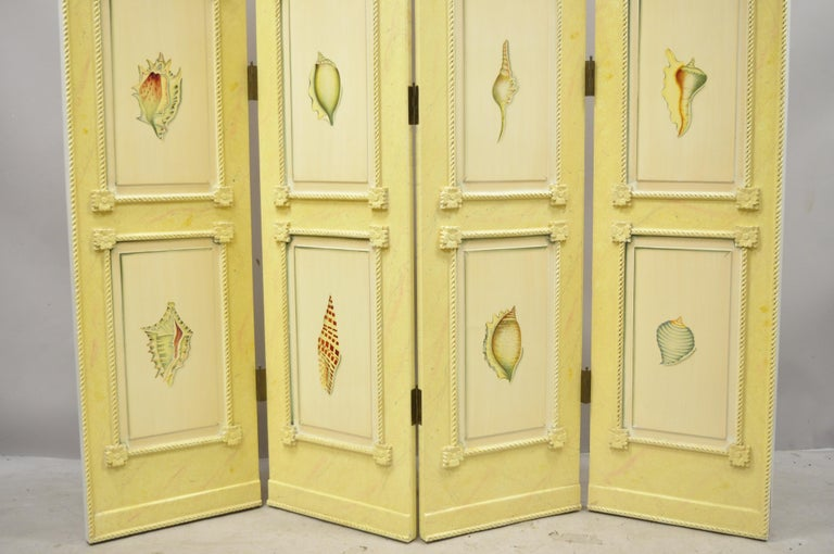 Hollywood Regency Nautical Four Panel Yellow Folding Screen Room Divider with Painted Conch Shells For Sale
