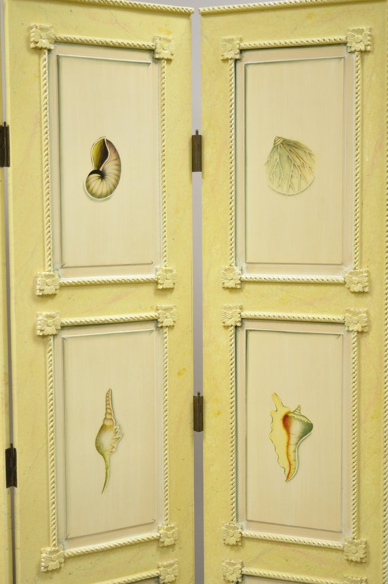 North American Nautical Four Panel Yellow Folding Screen Room Divider with Painted Conch Shells For Sale