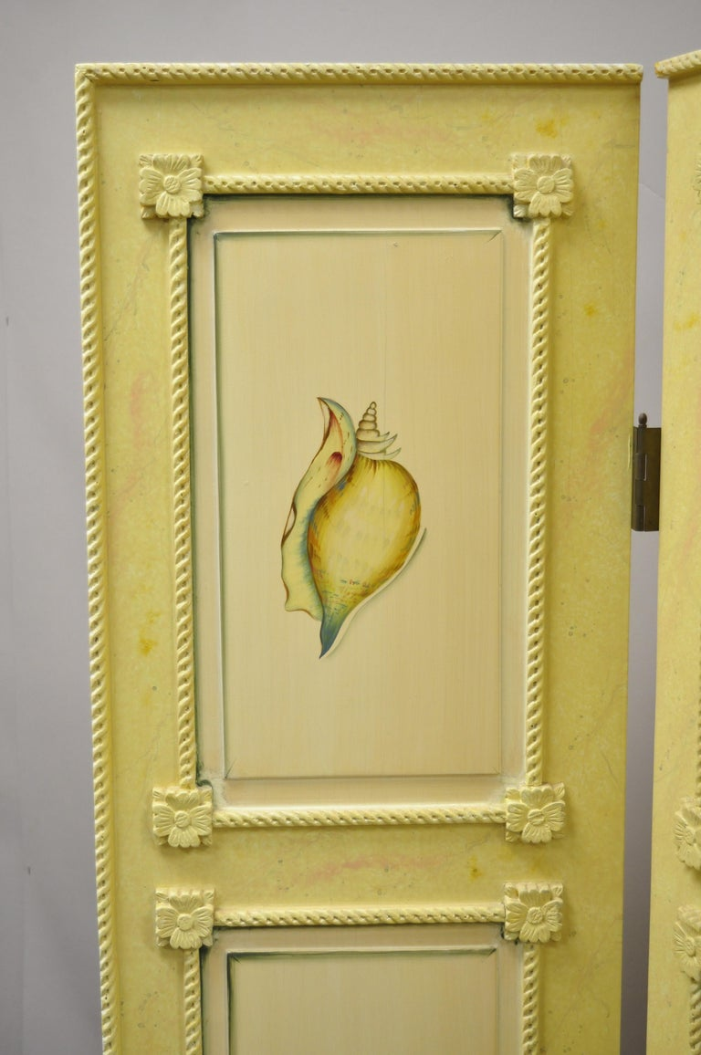 Nautical Four Panel Yellow Folding Screen Room Divider with Painted Conch Shells In Good Condition For Sale In Philadelphia, PA