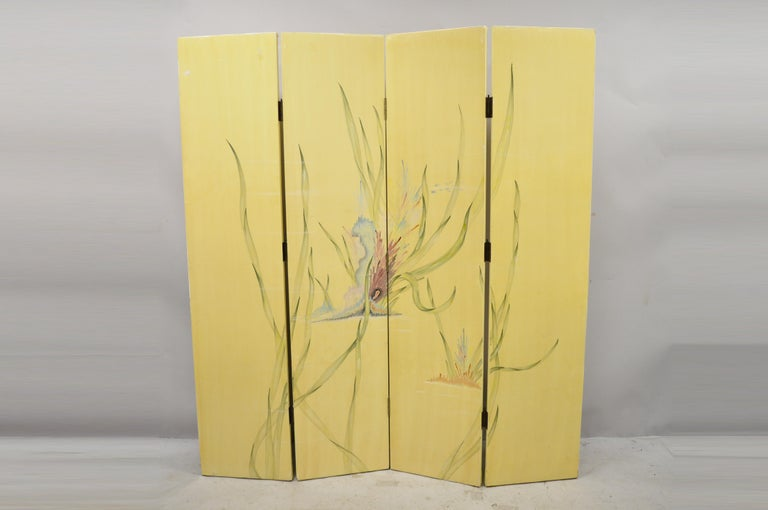 Wood Nautical Four Panel Yellow Folding Screen Room Divider with Painted Conch Shells For Sale
