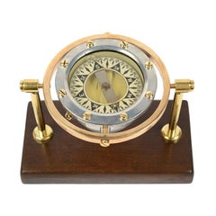 Nautical Liquid Compass of Brass and Aluminum Made in US in the 1930s