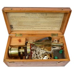 Nautical Log in Its Wooden Box to Measure Boats Speed Walker Early 1900s