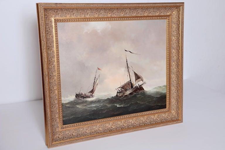 Nautical / Maritime Painting by Jan Hendrik Jacob Jasper For Sale 3