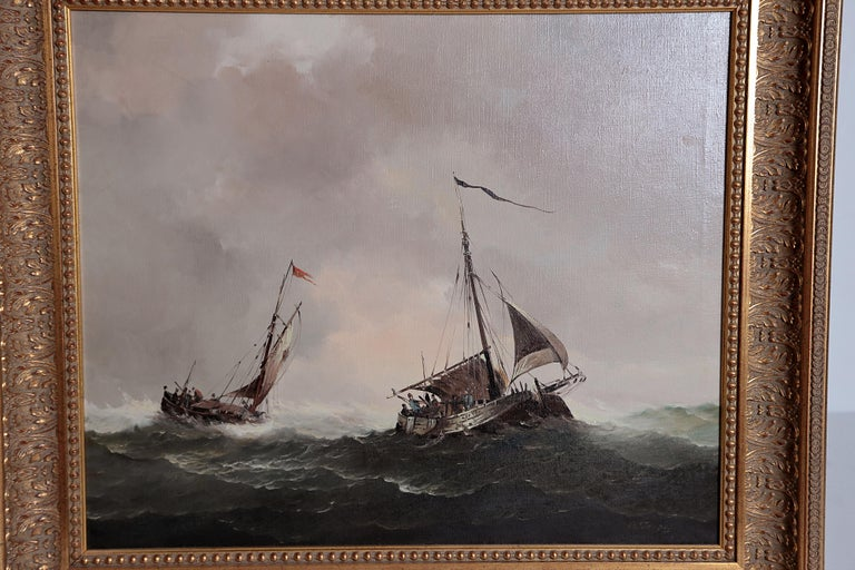 A nautical / maritime oil on canvas, framed, two vessels on a rough, choppy sea with grey storm clouds in the sky overhead, signed lower right, H. J. JASPER (Dutch artist Jan Hendrik Jacob Jasper 1937- )  19