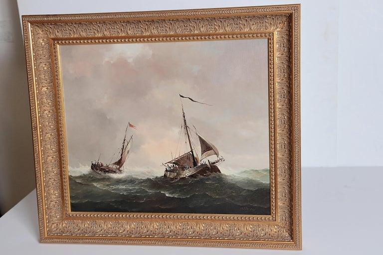 Nautical / Maritime Painting by Jan Hendrik Jacob Jasper For Sale 1