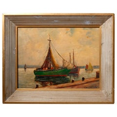 Nautical Oil on Canvas Harbor Scene with Sailboats by William Ward, circa 1930