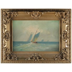 Nautical Oil on Canvas Painting of Maritime Scene after Reuterdahl Signed