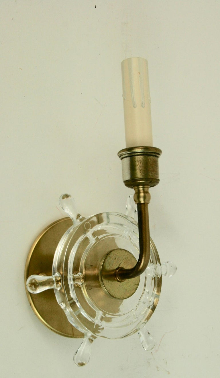 Nautical Pair of Brass and Glass Ships Wheel Sconces For Sale 2