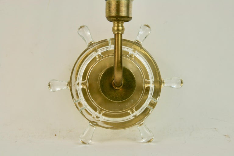 Nautical Pair of Brass and Glass Ships Wheel Sconces For Sale 4