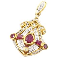 Nautical Ruby and Diamond Pendant in 18K Yellow Gold Setting