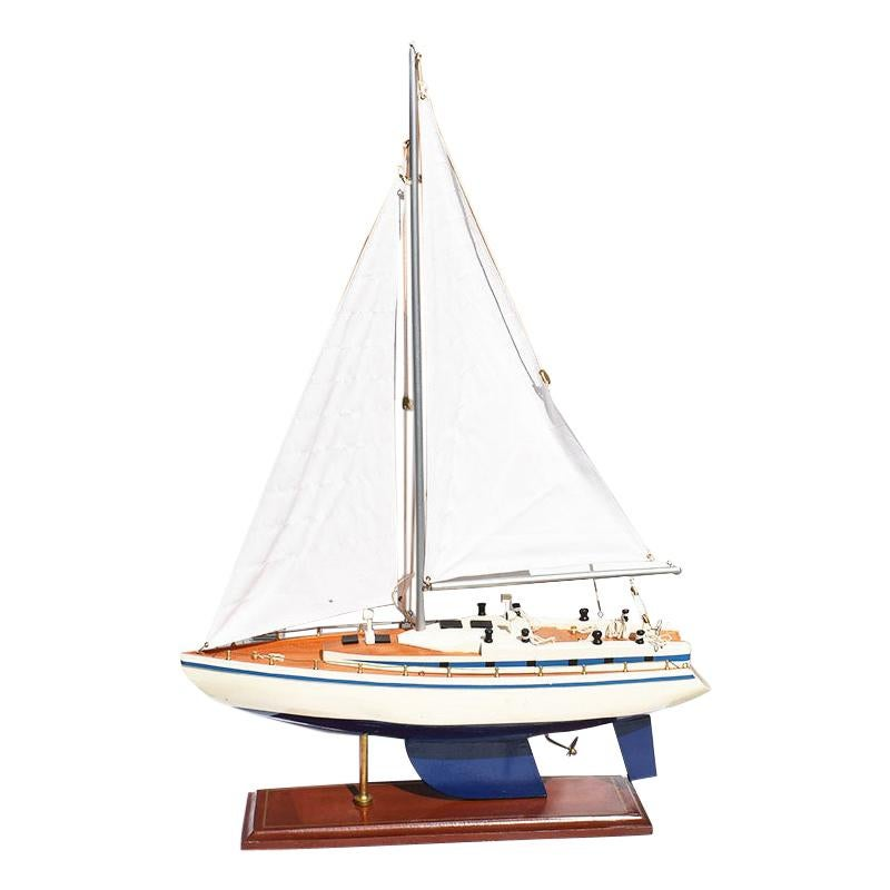 Nautical Sailboat or Yacht Model in Blue and White with Painted Wood Body, 1930s