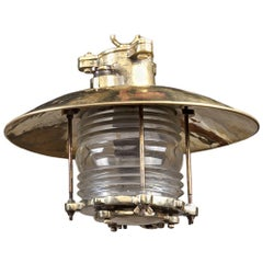 Nautical Ship's Brass Pendant Light with Fresnel Lens, Late 1970s