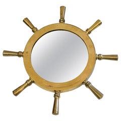 Nautical Ship's Wheel Mirror of Brass, 1970s