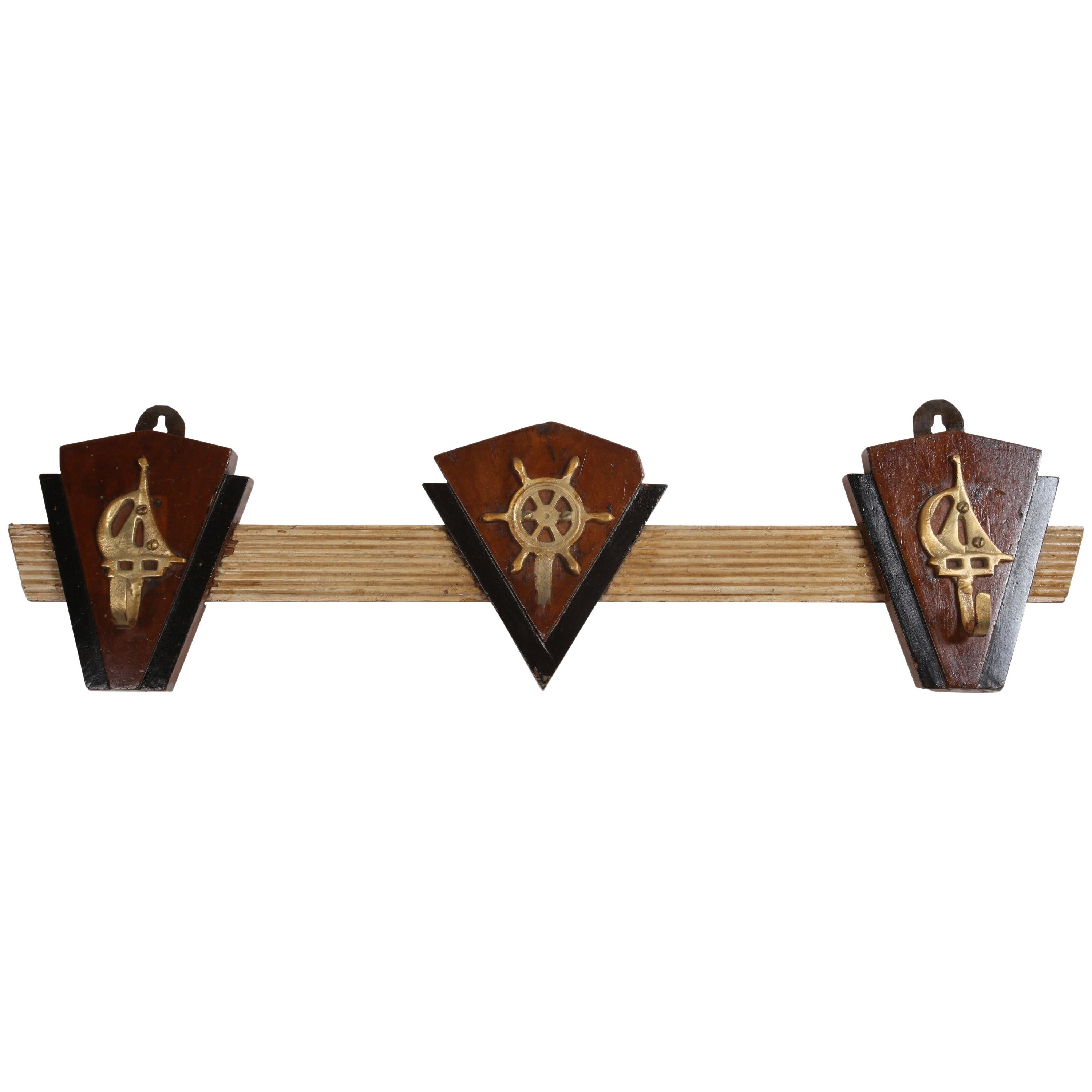 Nautical Teak and Brass Coat Hooks from a 1970s Cruise Ship