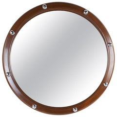 Large Teak and Chrome Ship's Stateroom Nautical Mirror