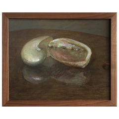 Nautilus and Abalone, Oil on Panel Still Life Painting with Two Sea Shells