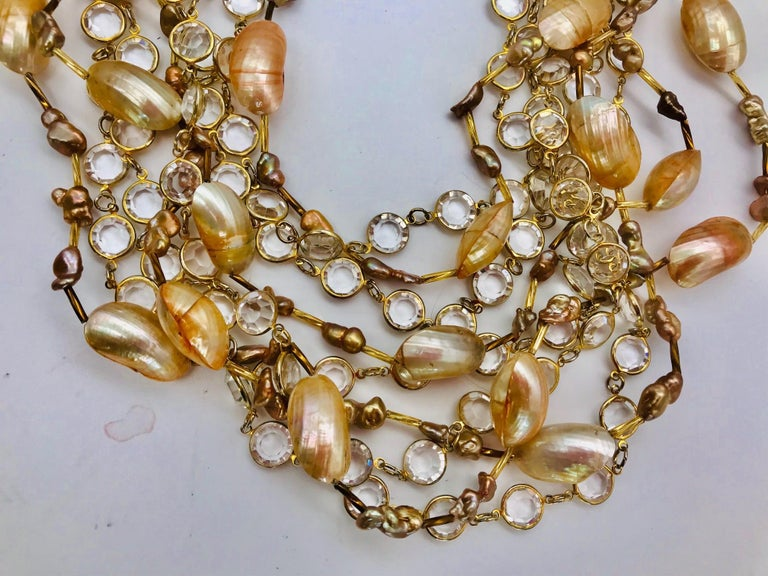 Art Deco Nautilus cabochon up-cycled vintage crystal 9strand  Necklace by Sylvia Gottwald For Sale