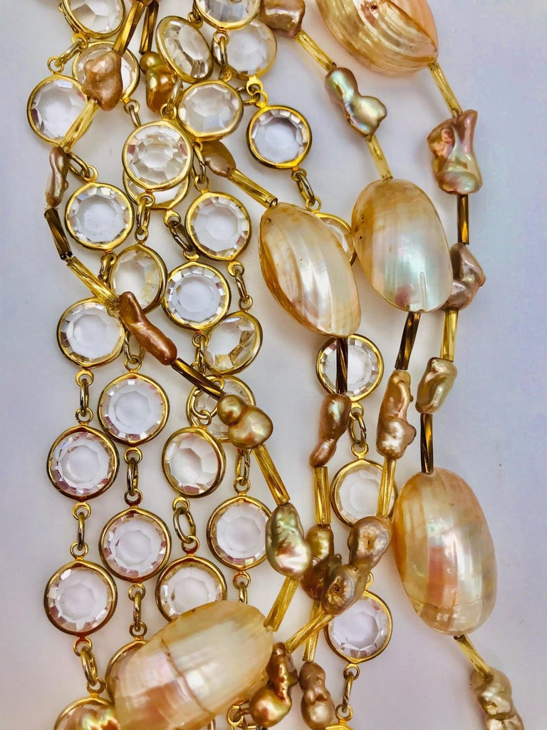 Bead Nautilus cabochon up-cycled vintage crystal 9strand  Necklace by Sylvia Gottwald For Sale
