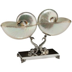 Double Mother of Pearl Nautilus Sea Shells on 'Triton' Sterling Silver Base