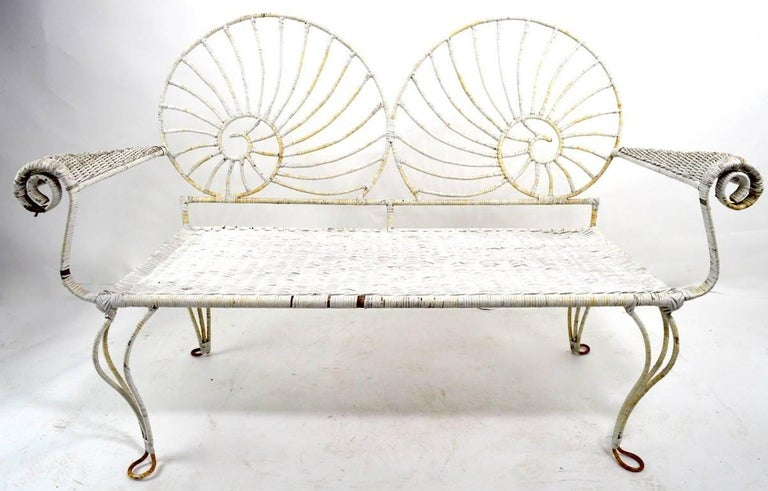 Groovy Nautilus Shell Back Wicker And Iron Garden Bench Andrewgaddart Wooden Chair Designs For Living Room Andrewgaddartcom