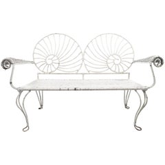 Nautilus Shell Back Wicker and Iron Garden Bench