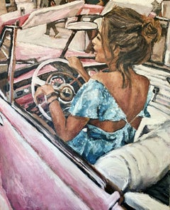 Pink Cadillac, Painting, Acrylic on Canvas