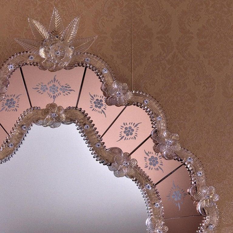 Modern Navagero Murano Glass Mirror For Sale