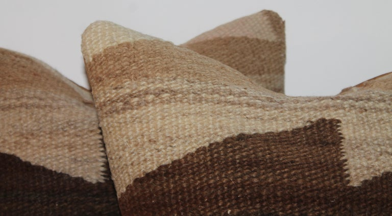 Geometric Navajo Indian weaving pillows in fine condition. Very early weaving pillows.