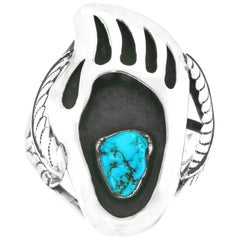 Navajo Bear Claw Sterling Cuff Bracelet with Turquoise