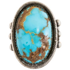 Navajo Bisbee Turquoise and Sterling Ring
