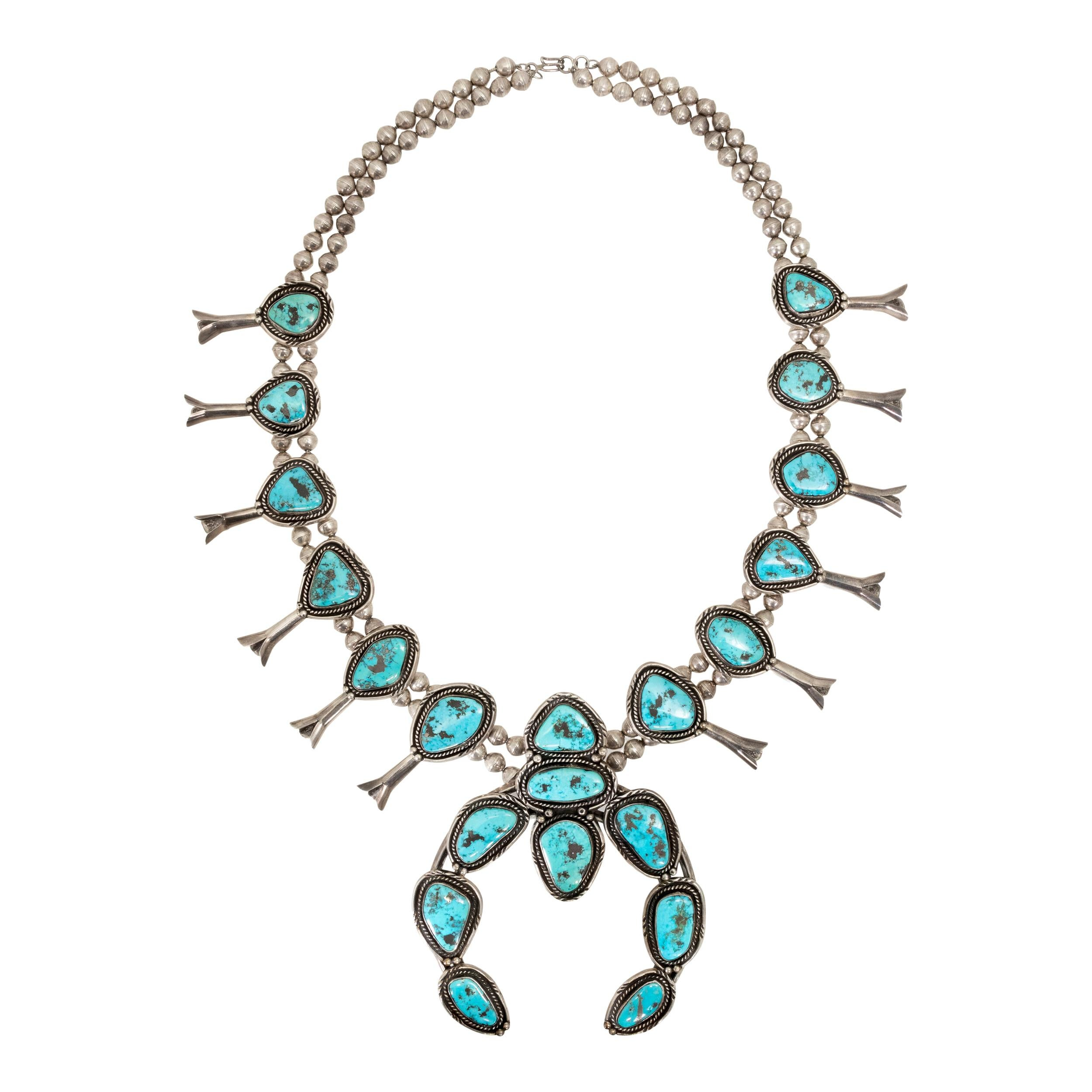 Navajo Bisbee Turquoise and Sterling Squash Blossom