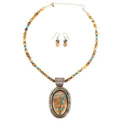 Navajo Boulder Turquoise Necklace and Earrings