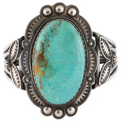 Navajo Carlan Mine Turquoise and Sterling Bracelet