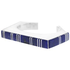 Navajo Contemporary Lapis and Sterling Cuff Bracelet