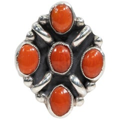 Navajo Coral and Sterling Ring