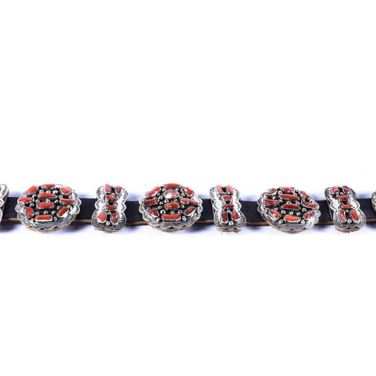 Native American Navajo Coral Concho Belt For Sale