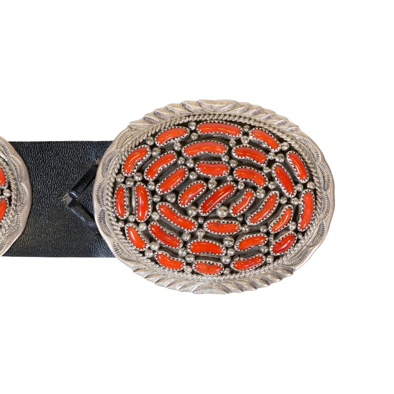 Old Mine Cut Navajo Coral Concho Belt For Sale