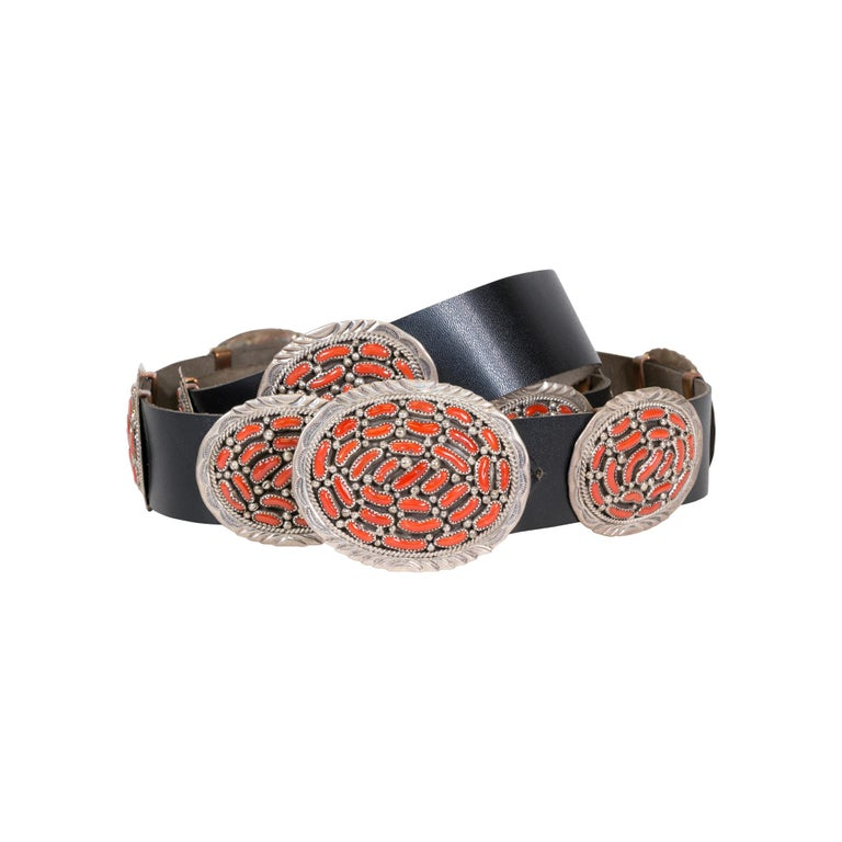 Navajo Coral Concho Belt For Sale