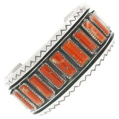 Navajo Coral Cuff Bracelet