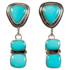 Navajo Dangle Natural Turquoise and Sterling Earrings