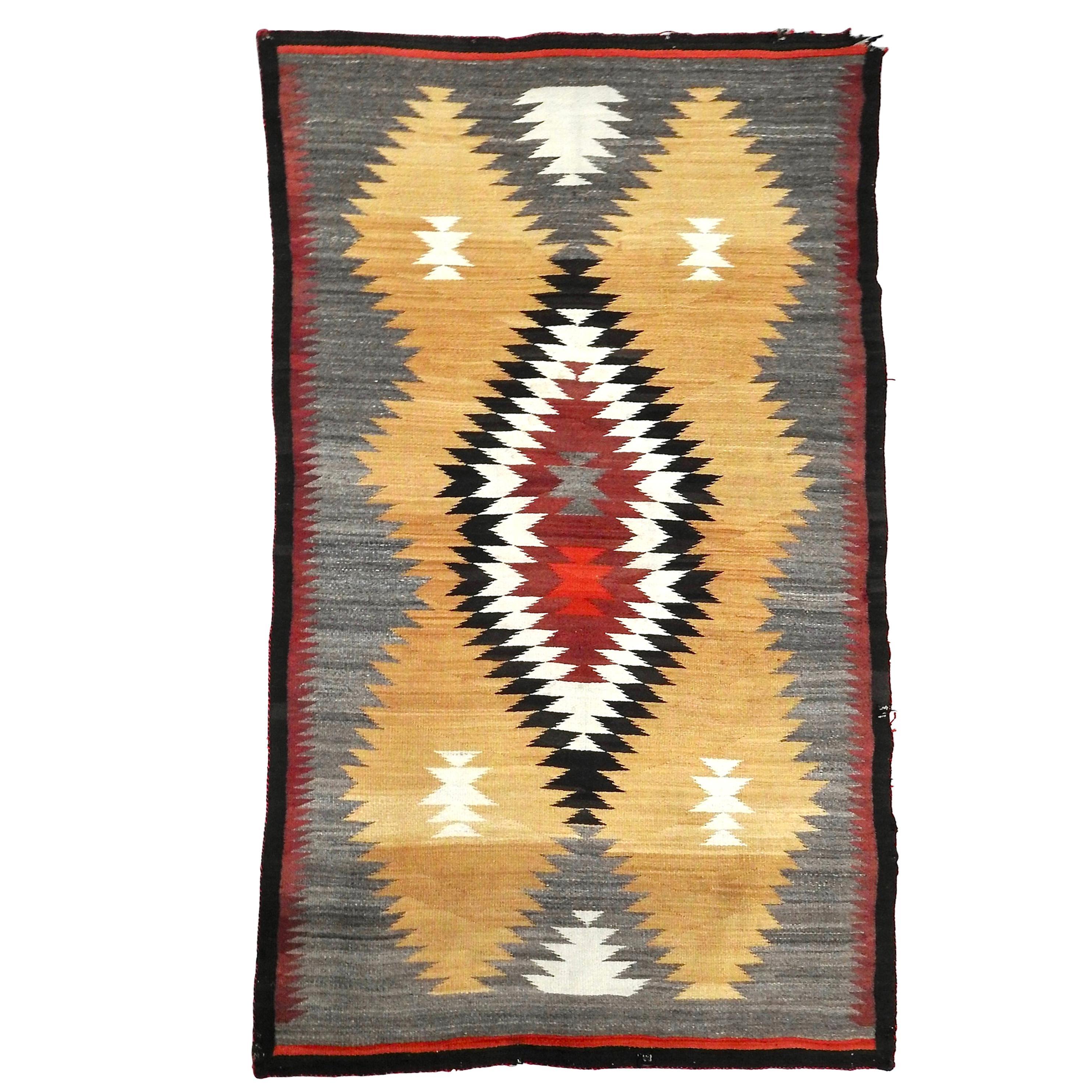 Navajo Eye Dazzler Woven Rug, circa 1940s