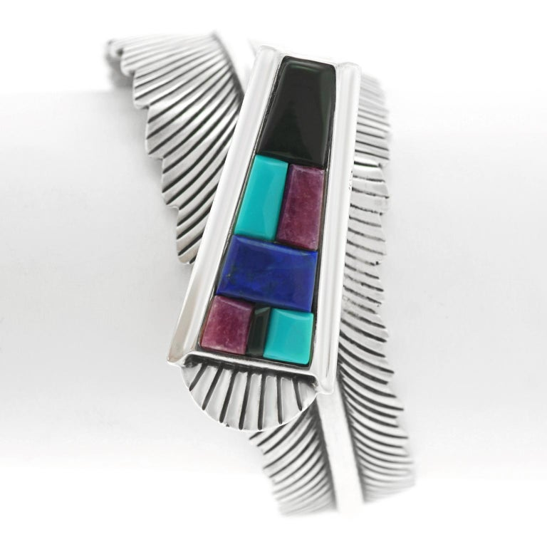 Navajo Feather Motif Cuff For Sale 5