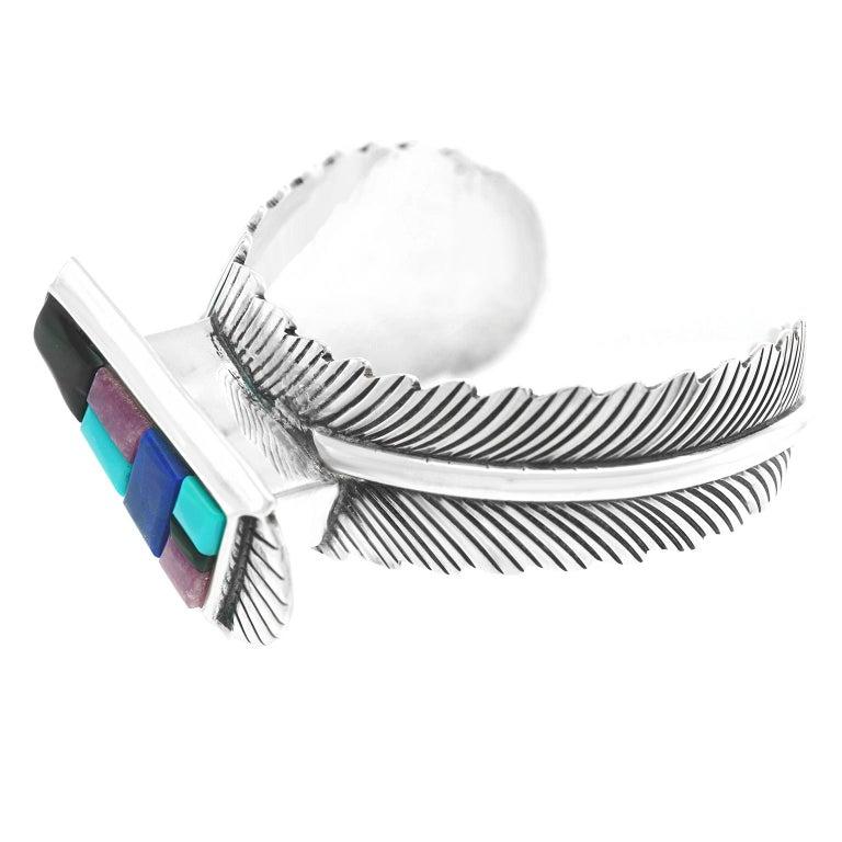 Native American Navajo Feather Motif Cuff For Sale